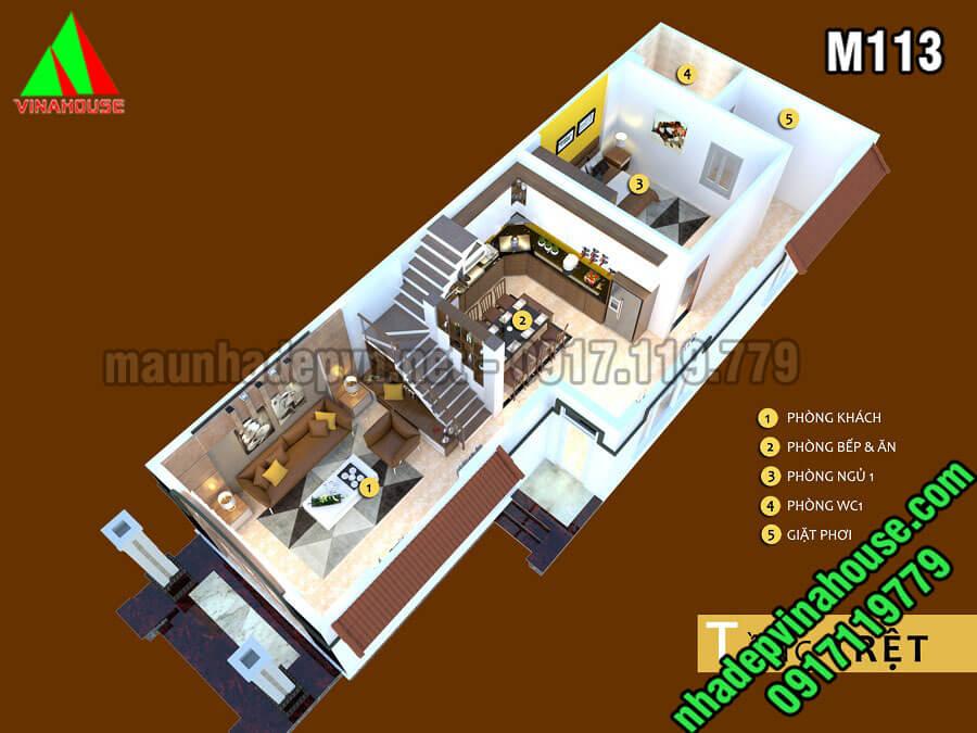 Mặ bằng nhà cấp 4 gác lửng mái thái 3 phòng ngủ