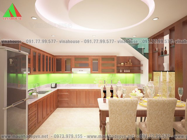 phòng bếp biệt thự mini mái thái M42Biệt thự mini mái thái M42 đẹp