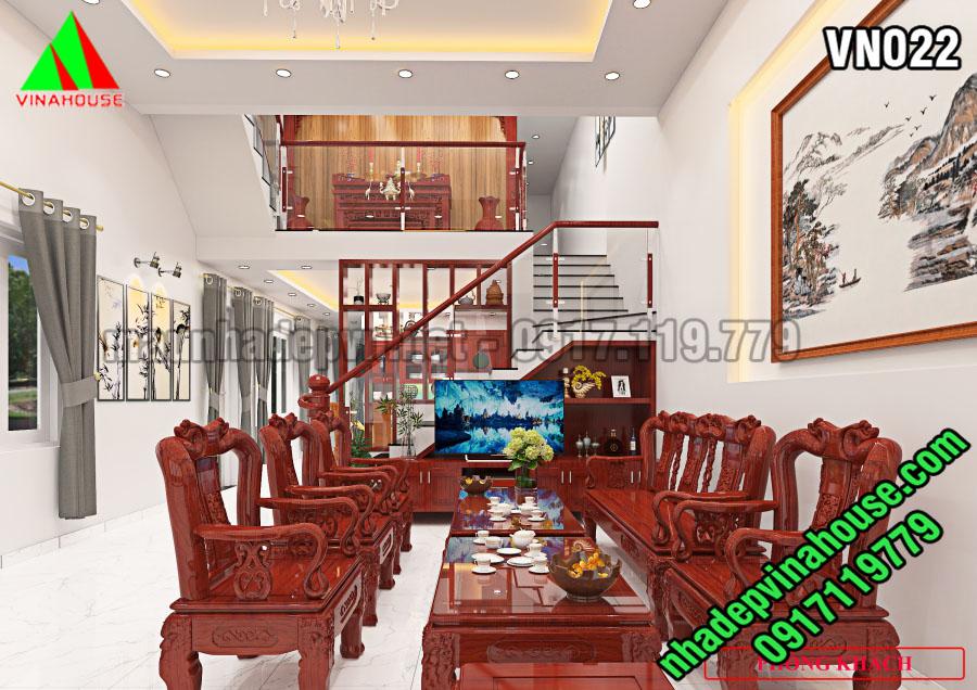 Phòng khách nhà cấp 4 gác lửng mái lệch