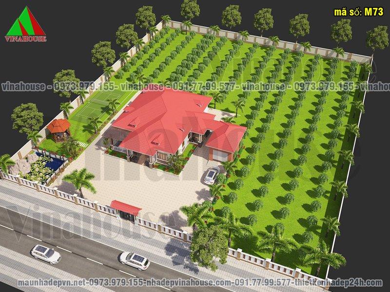 Hình ảnh biệt thự vườn 1 tầng mái thái