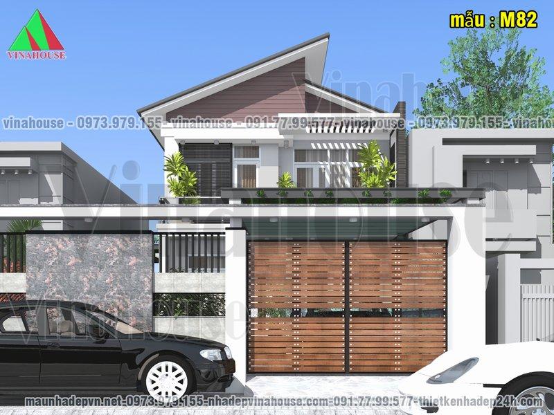 Thiết kế biệt thự hiện đại 2 tầng mái lệch 8x14