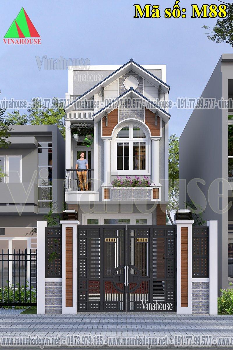 Nhà 2 tầng 4x17 mặt tiền mái thái 3 phòng ngủ