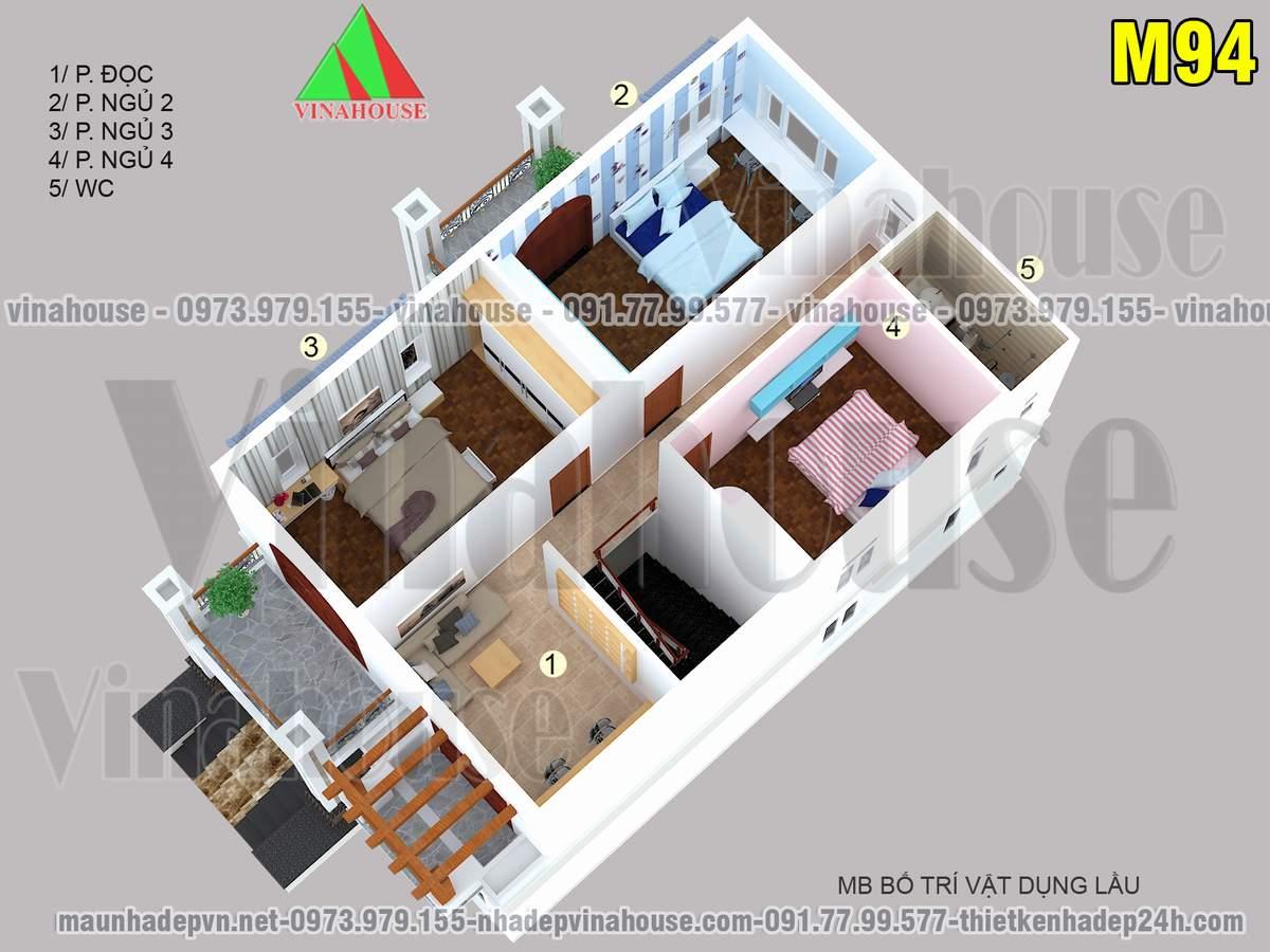 Mặt bằng tầng lầu nhà 2 tầng 8x13