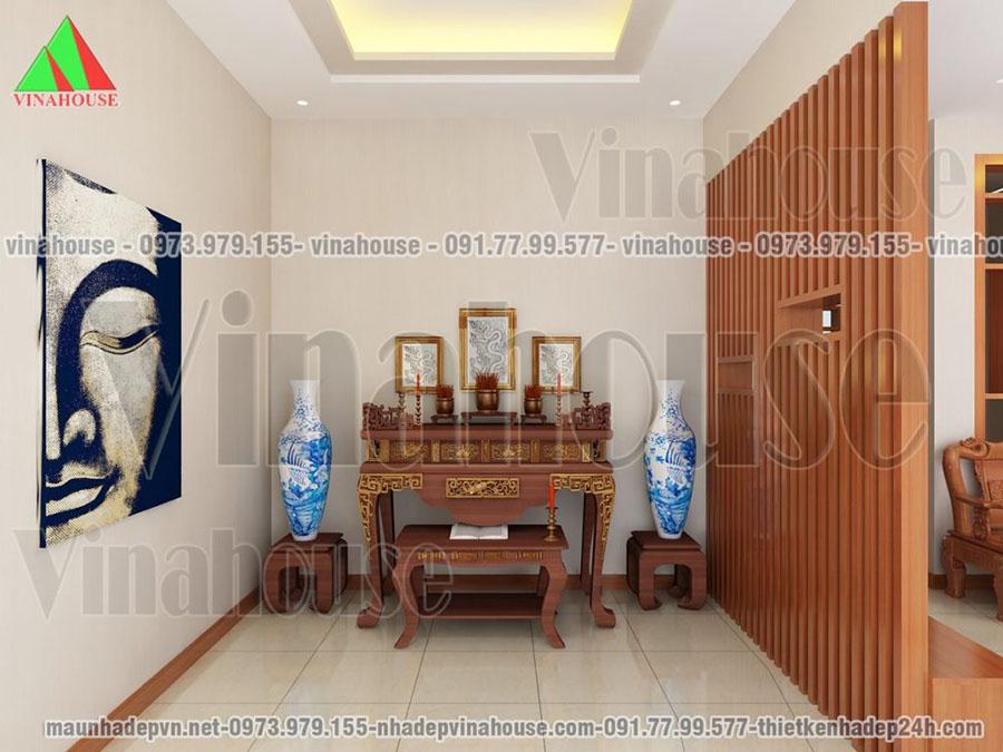 phòng thờ thiết kế biệt thự 2 tầng Tây Ninh M97