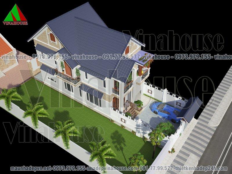 Nhà vườn mái thái 2 tầng đẹp
