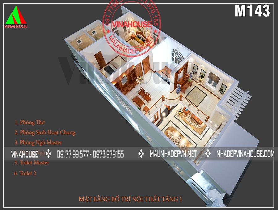 mẫu biệt thự 2 tầng mái thái M143