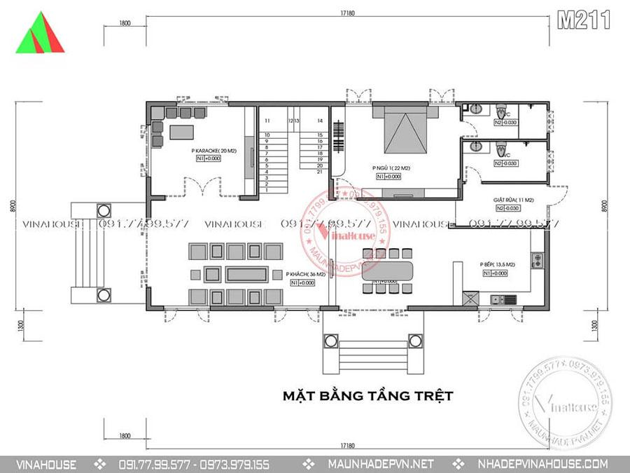 bản vẽ biệt thự 2 tầng M211