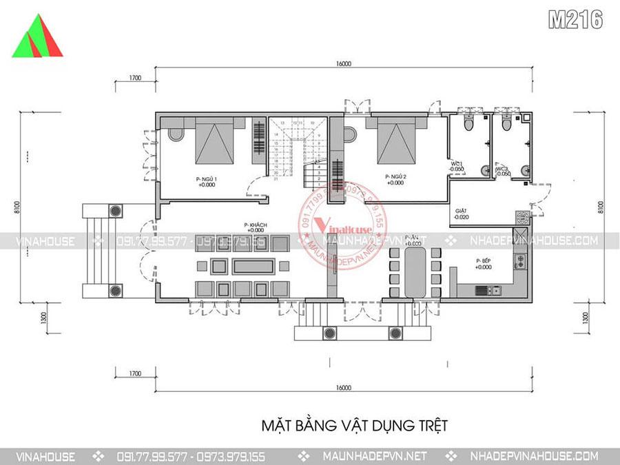 bản vẽ biệt thự 2 tầng tây ninh sang trọng M216