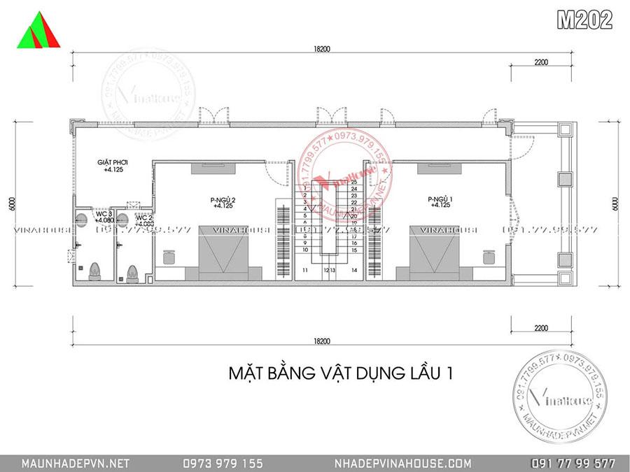 bản vẽ lầu 1 biệt thự mái thái M202