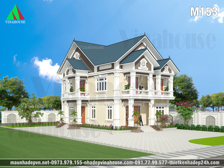 biệt thự cổ điển mái thái đẹp M153