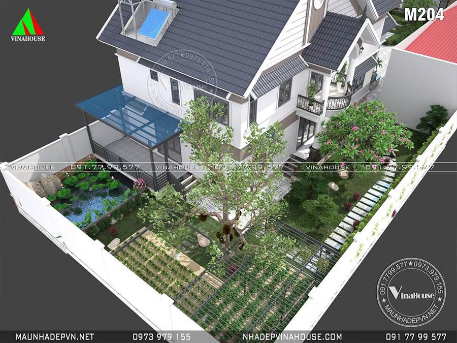 thiết kế biệt thự mái thái đẹp M204
