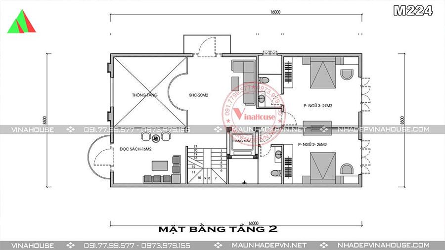 bản vẽ biệt thự phố 3 tầng bà rịa đẹp M224