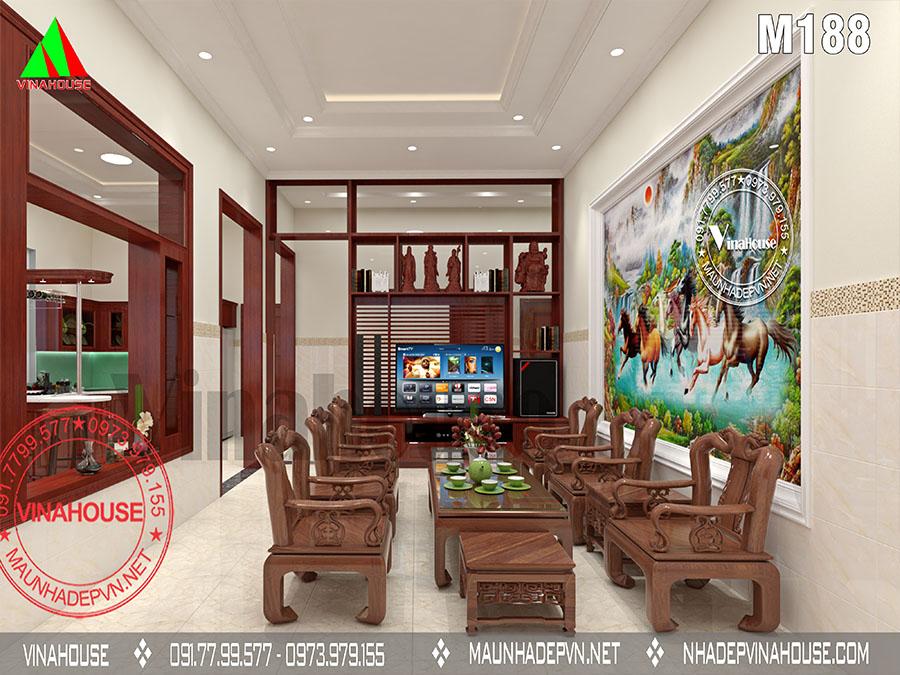 phòng khách biệt thự vườn 1 tầng mái thái M188