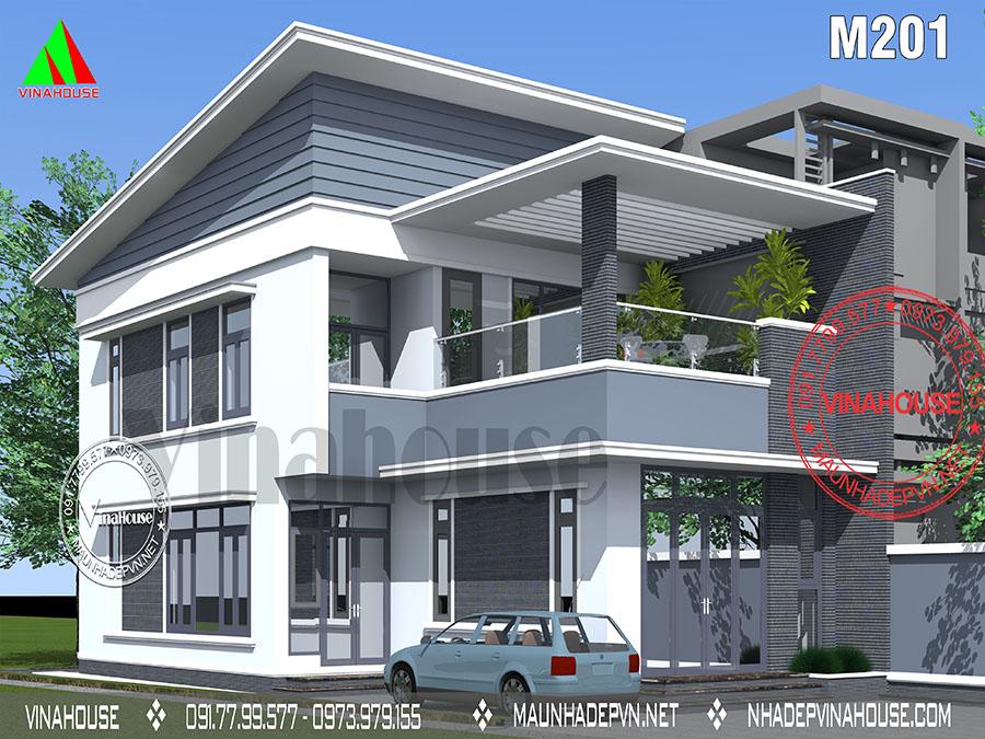 nhà 2 tầng mái lệch hiện đại Biên Hòa M201