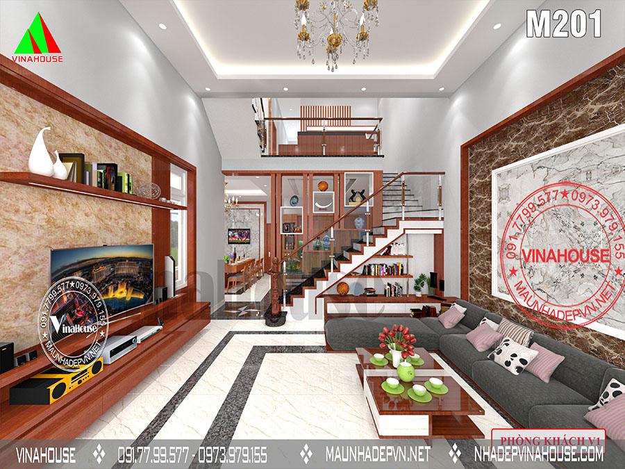 phòng khách nhà 2 tầng mái lệch Biên Hòa M201