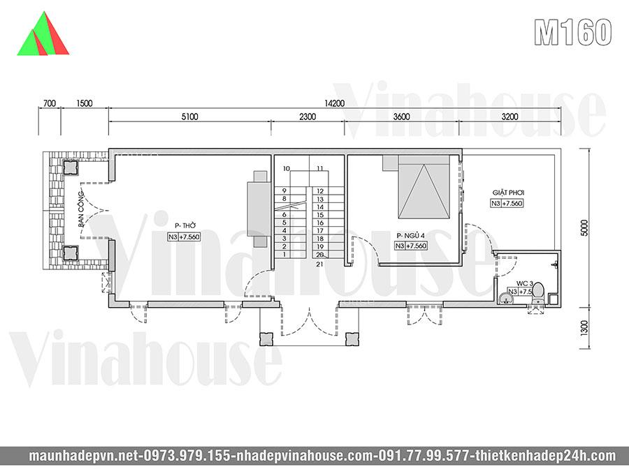 thiết kế mẫu nhà 3 tầng ở đồng nai M160