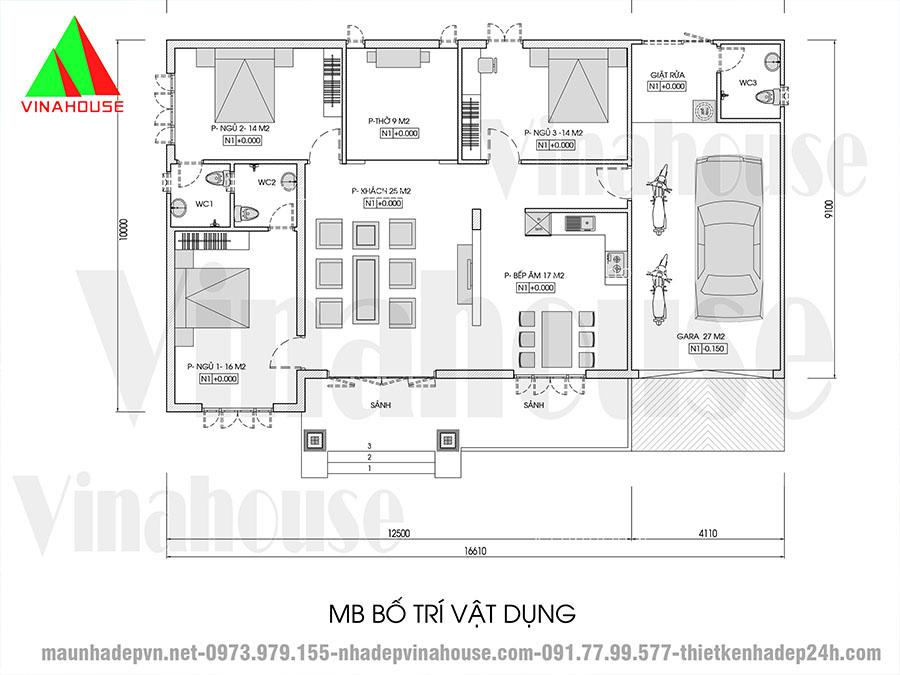 thiết kế nhà mái thái M149