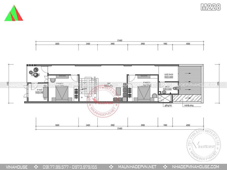 bản vẽ thiết kế nhà phố 2 tầng M227
