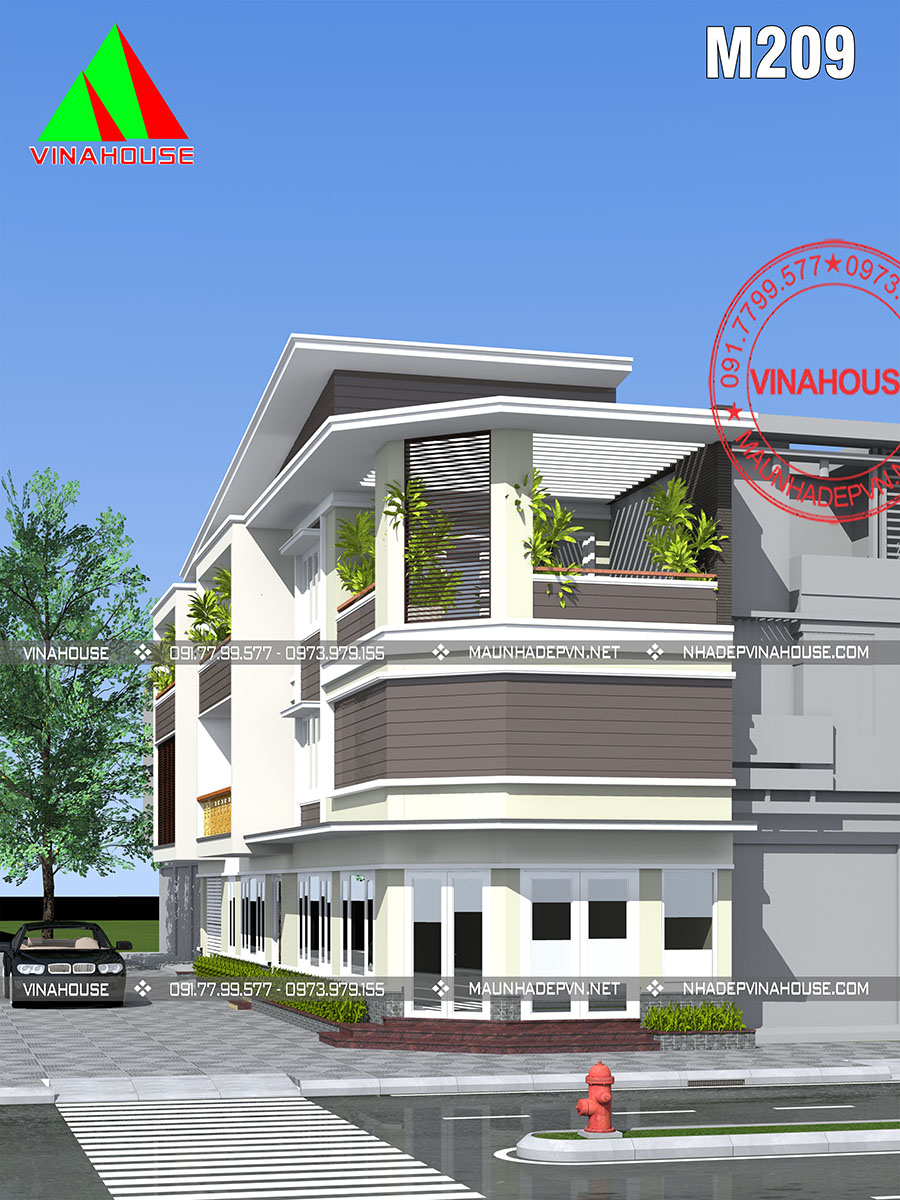 kiến trúc nhà phố 3 tầng M209