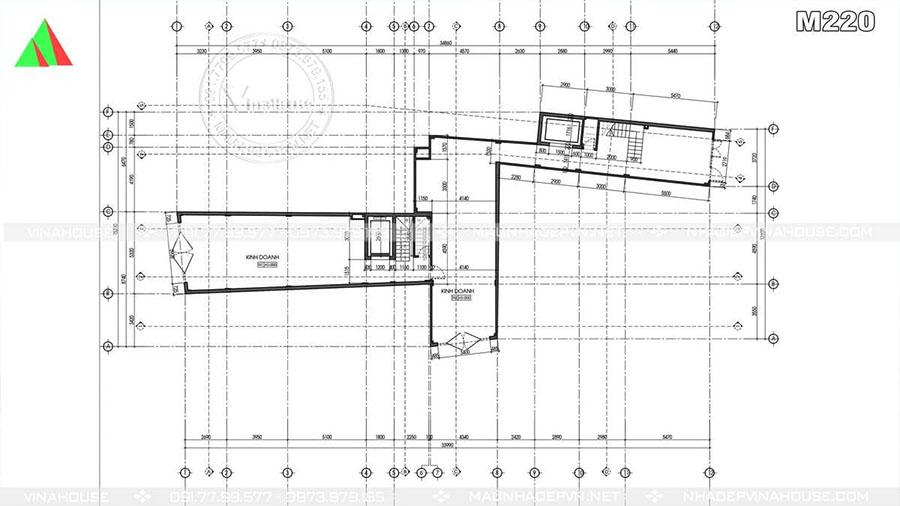 bản vẽ nha phố 5 tầng M220