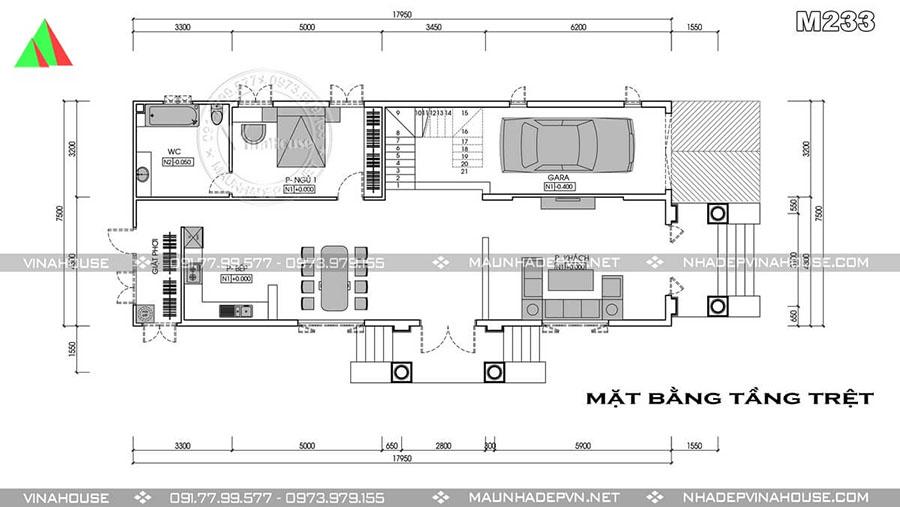 thiết kế biệt thự 2 tầng bà rịa sang trọng M233