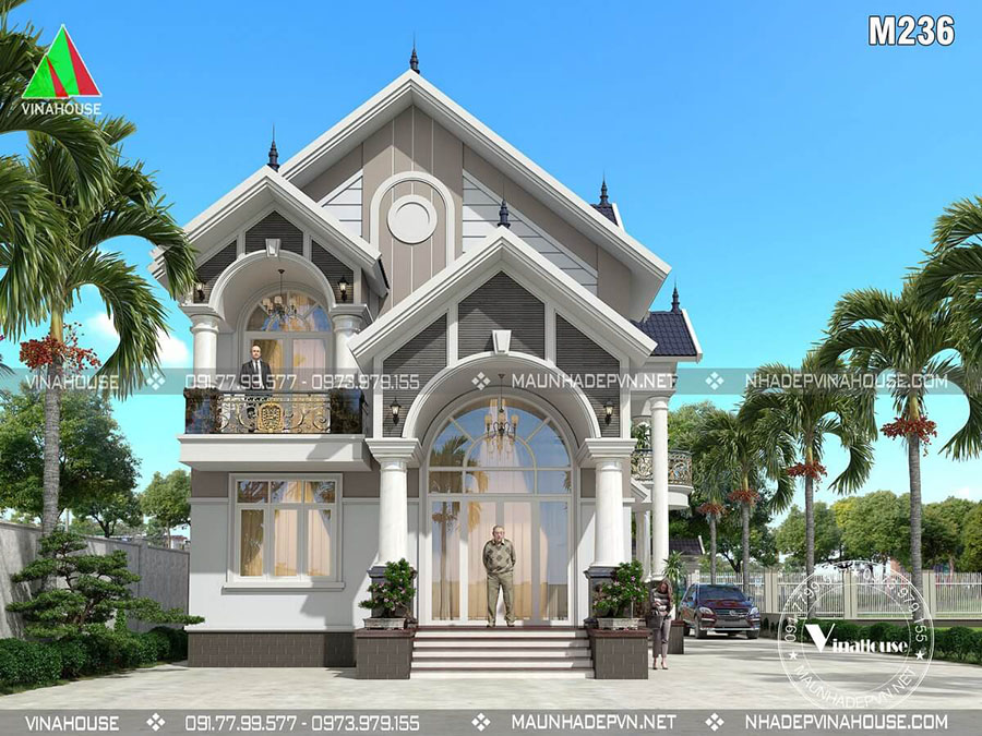thiết kế biệt thự hiện đại 2 tầng đẹp M236
