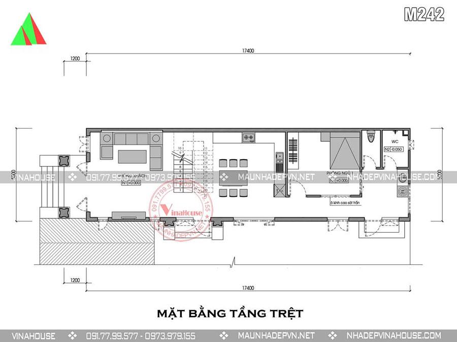 bản vẽ nhà ống 2 tầng Dầu Tiếng M242