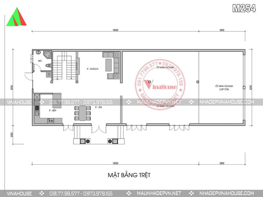 bản vẽ biệt thự 2 tầng Nghê An M254 sang trọng