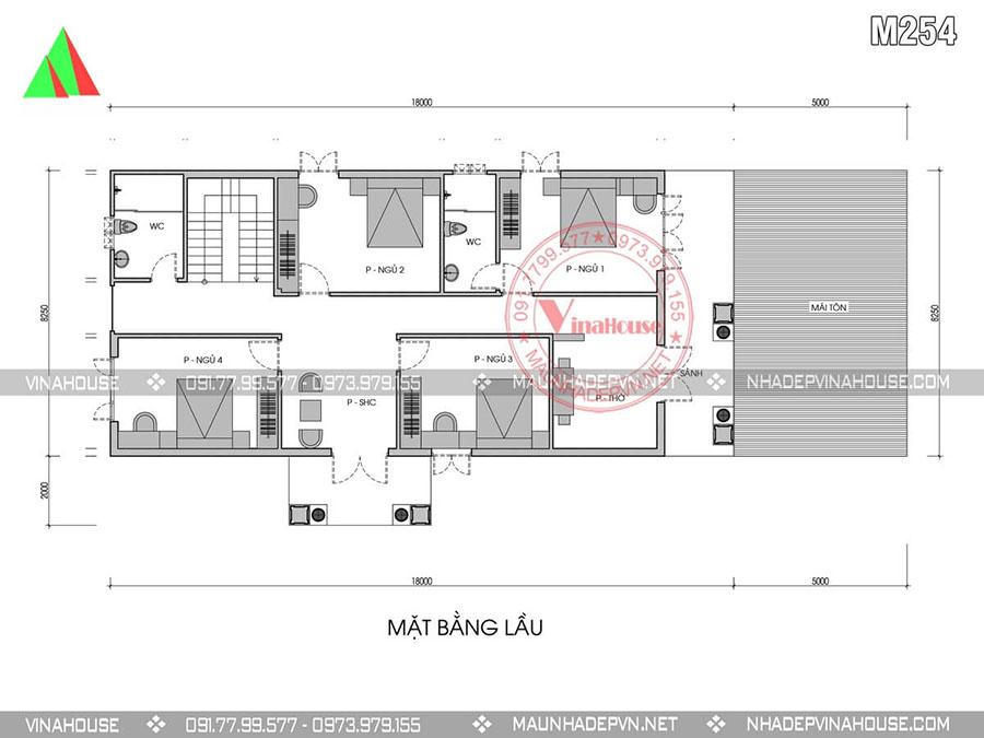 bản vẽ biệt thự 2 tầng Nghê An M254