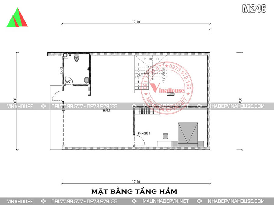 bản vẽ thiết kế nhà gác lửng hà nội đẹp M246
