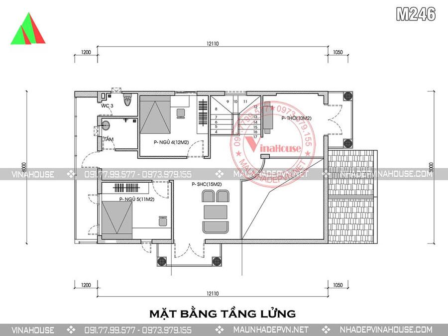 bản vẽ thiết kế nhà gác lửng hà nội M246