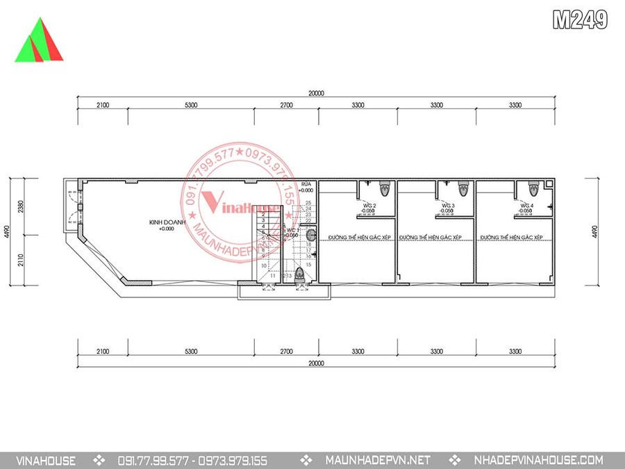 bản vẽ thiết kế nhà phố 2 tầng M249 đẹp