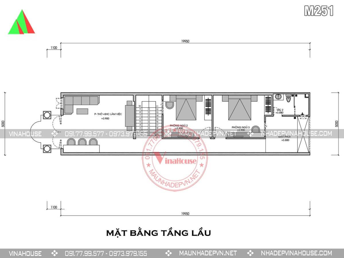 mẫu nhà ống 2 tầng mái thái 5x20m