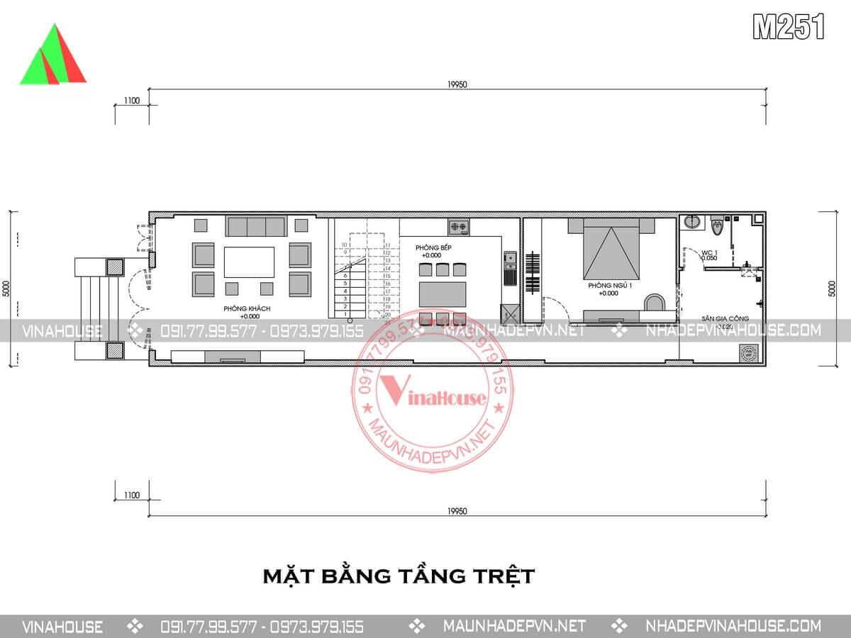 tầng trệt nhà ống mái thái 2 tầng 5m