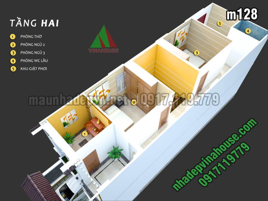 tầng nhà ống mái thái mặt tiền 5m